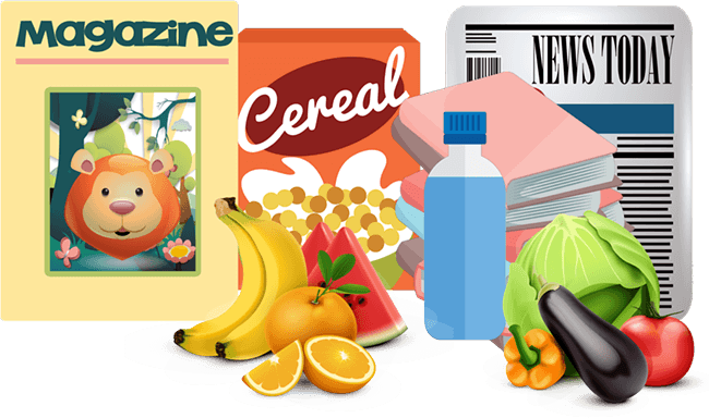 Fruits, Vegetables,Cereal and Water